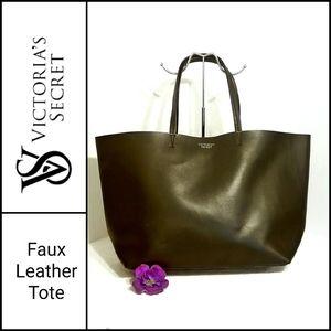 Victoria's Secret Black Faux Leather Tote in GUC